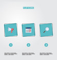 flat icons magnifier loudspeaker calendar and vector image vector image