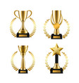 golden cup trophy with laurel sports music vector image vector image