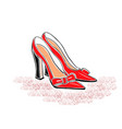 hand drawin shoes on a high heel vector image vector image