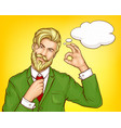 hipster man in green suit cartoon vector image vector image