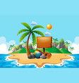 island scene with summer elements vector image vector image