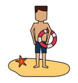 man with lifebuoy on the beach vector image