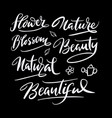 nature and flower hand written typography vector image vector image