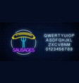 neon glowing sign sausages in circle frame vector image vector image