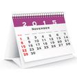 November 2015 desk calendar - vector image vector image