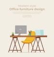 office workplace interior cartoon design vector image vector image