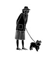 old woman walking with dog vector image