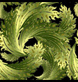 ornate green leafy baroque 3d seamless pattern vector image vector image