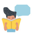 people reading a book with speech bubbles vector image vector image