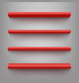 red shelves for product display mockup vector image vector image