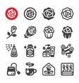 rose icon set vector image vector image