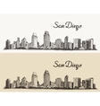 San Diego skyline e hand drawn sketch vector image vector image