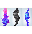 set abstract vertical facet banners 3d vector image