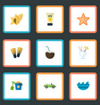 set of beach icons flat style symbols with coconut vector image