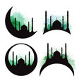 set of silhouettes of a mosque with green vector image