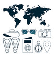 set of travel and world vector image vector image