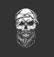 skull with bandage mustache and beard vector image vector image