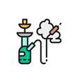smoking hookah tobacco flat color line icon vector image