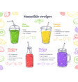 smoothie recipes green healthy shakes detox food vector image