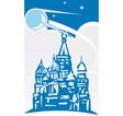 Sputnik over Kremlin vector image vector image