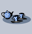 tea-set teapot and two cups vector image