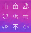 user icons line style set with open return vector image vector image