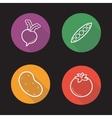 Vegetables flat linear icons set vector image