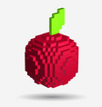 voxel red apple in pixel style on white background vector image vector image