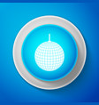 white disco ball icon isolated on blue background vector image vector image