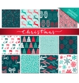 Collection of twelve hand drawn winter holidays vector image