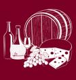 Wine Cheese vector image