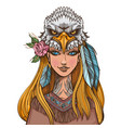 a woman with an eagle mask beautiful girl in a vector image vector image