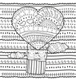 Adult coloring page Heart-shaped hot air balloon vector image vector image