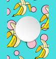 banana background with pop art dots in 80s 90s vector image