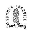 beach party emblem design on white vector image