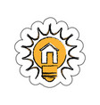 bulb light with house drawing icon vector image vector image