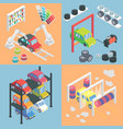 car service center isometric icons flat 3d vector image vector image