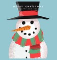 christmas and new year card funny snowman cartoon vector image vector image