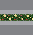 christmas border with golden glitter stars vector image