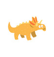 cute cartoon triceratops dinosaur prehistoric vector image vector image