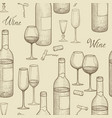 drink wine seamless sketch pattern wine card vector image vector image