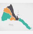 eritrea map with states and modern round shapes vector image vector image