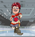 funny cartoon hockey player with bruise under an vector image