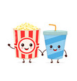funny happy cute smiling bucket of popcorn vector image vector image