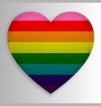 gay lgbt rainbow flag on glossy heart button vector image