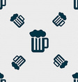 Glass of beer with foam icon sign Seamless pattern vector image
