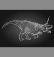 graphic tyrannosaurus with unicorn horn and mane vector image vector image