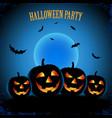 halloween poster with pumpkins in blue design vector image vector image