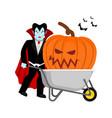 halloween wheelbarrow and vampire dracula big vector image vector image