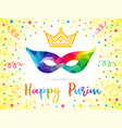happy purim mask and colored confetti vector image